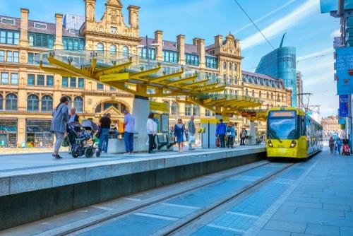 Manchester,,Uk,-,May,18,2018:,Light,Rail,Metrolink,Tram