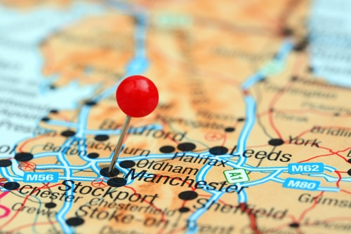 Manchester,Pinned,On,A,Map,Of,Europe